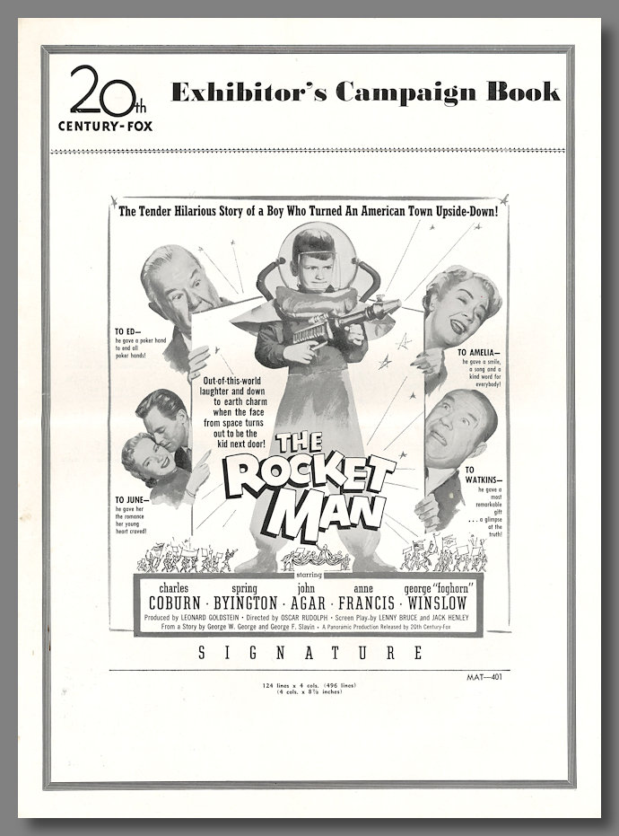 [Original Studio Publicity Press Book for:] THE ROCKET MAN. Lenny Bruce, screenwriter.