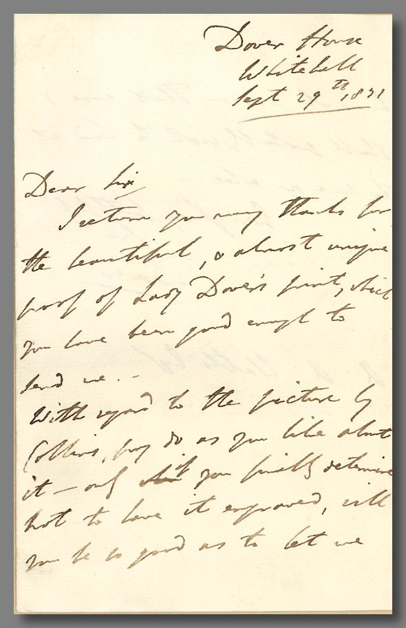 """[Autograph Letter, Signed """"Dover,"""" to Alaric A. Watts]. George James Welbore Agar, 1st Baron Dover."""
