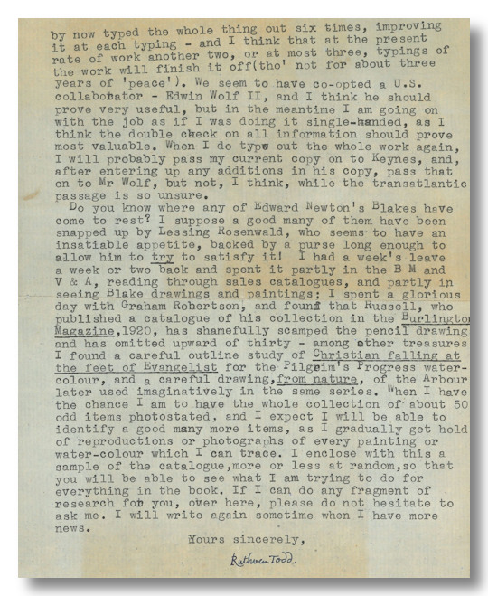 [Typed Letter, Signed, About Editorial Work on Blake]. William Blake, Ruthven Todd.