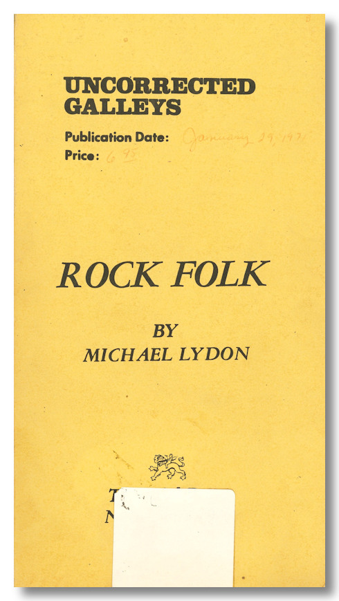 ROCK FOLK. Michael Lyon.
