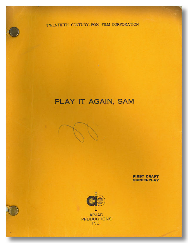 """PLAY IT AGAIN, SAM"" SCREENPLAY BY ... BASED ON A PLAY BY. Woody Allen, Charles Grodin, sourcework, screenwriter."