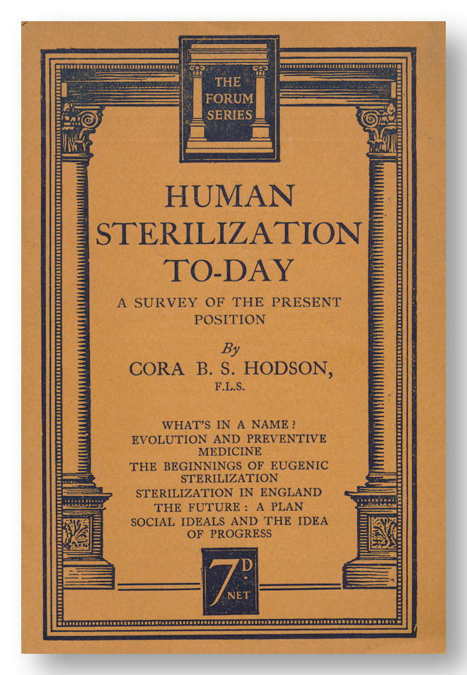 HUMAN STERILIZATION TO-DAY A SURVEY OF THE PRESENT POSITION. Eugenics, Cora B. S. Hodson.
