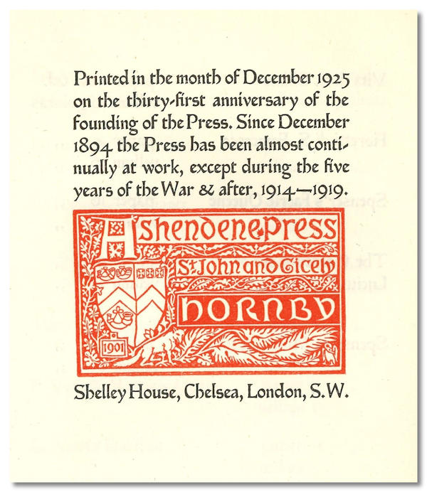 A HAND-LIST OF THE BOOKS PRINTED AT THE ASHENDENE PRESS MDCCCXCV - MCMXXV [wrapper title], Ashendene Press.