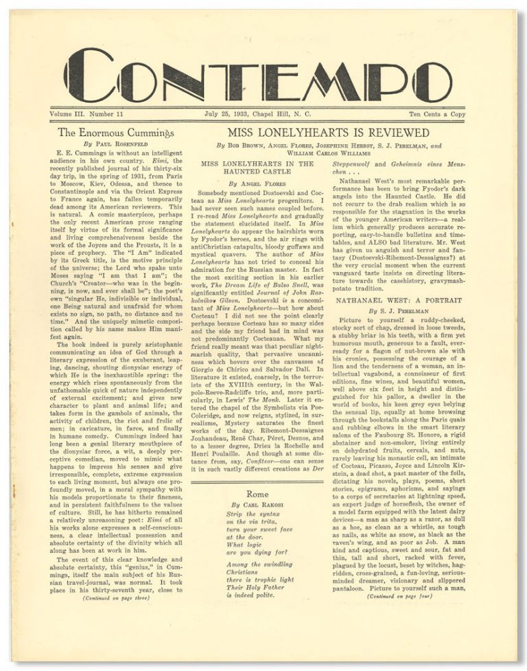 CONTEMPO A REVIEW OF BOOKS AND PERSONALITIES. Nathanael West, M. A. Abernethy, M K.