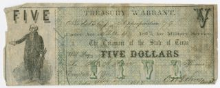 CONFEDERATE TREASURY WARRANT IN THE AMOUNT OF FIVE DOLLARS]. Confederate Bill