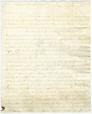 AUTOGRAPH LETTER, SIGNED, FROM H.M. BRACKENRIDGE TO RICHARD S. COXE]. Henry M. Brackenridge