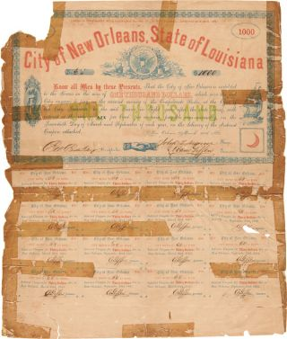 $1000 DEFENSE BOND FOR THE CITY OF NEW ORLEANS]. Confederate Bond