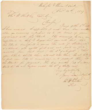 AUTOGRAPH LETTER, SIGNED, FROM B.F. BUTLER AS PRESIDENT OF WASHINGTON & WARREN BANK]. Benjamin F....