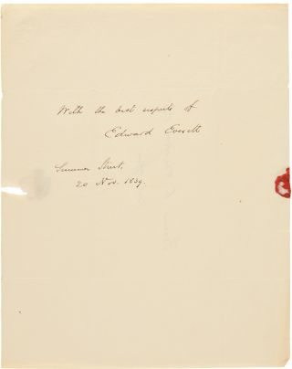 AUTOGRAPH NOTE, SIGNED, FROM EDWARD EVERETT TO FRANCIS C. WHISTON]. Edward Everett