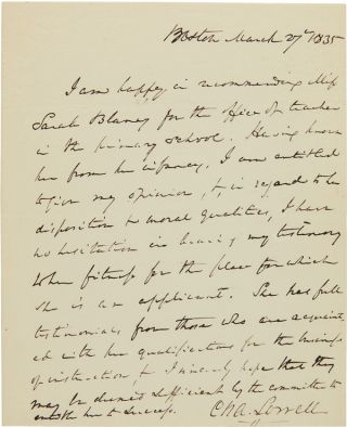 AUTOGRAPH LETTER, SIGNED, BY CHARLES LOWELL]. Charles Lowell