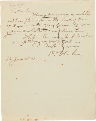 AUTOGRAPH LETTER, SIGNED, FROM RUFUS CHOATE]. Rufus Choate