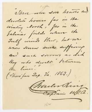 AUTOGRAPH NOTE, SIGNED BY CHARLES KING]. Charles King