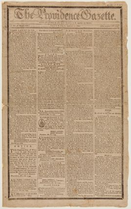 THE PROVIDENCE GAZETTE. SATURDAY, JANUARY 4, 1800. [VOL. XXXVII. - NO. 1879.]. American Newspaper