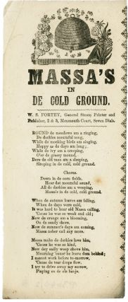 MASSA'S IN DE COLD GROUND [caption title]. Black Minstrel Song Sheet