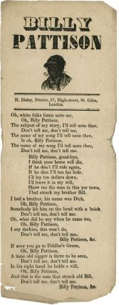 BILLY PATTISON [caption title]. Black Minstrel Song Sheet