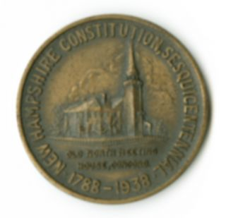 [NEW HAMPSHIRE STATE CONSTITUTION COMMEMORATIVE MEDAL, BEARING PORTRAIT OF DANIEL WEBSTER].