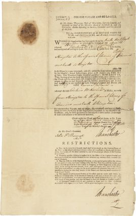 PRINTED DOCUMENT, COMPLETED IN MANUSCRIPT, BEING A TRADING LICENSE ISSUED TO THE SPANISH BRIG...