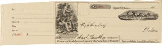 UNUSED PRINTED PICTORIAL CHECK OF THE HOLLADAY OVERLAND MAIL AND EXPRESS CO., FOR USE OF THEIR...