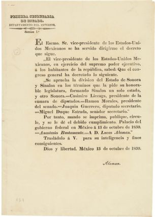 MEXICAN DECREE SPLITTING THE STATE OF SONORA Y SINALOA INTO TWO SEPARATE STATES] PRIMERA...