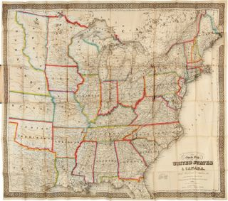 NEW GUIDE MAP OF THE UNITED STATES & CANADA. WITH RAILROADS, COUNTIES ETC. G. W. Colton