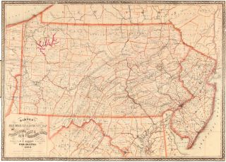 RAILROAD, CANAL & COUNTY MAP OF PENNSYLVANIA, NEW JERSEY & ADJOINING STATES. R. L. Barnes