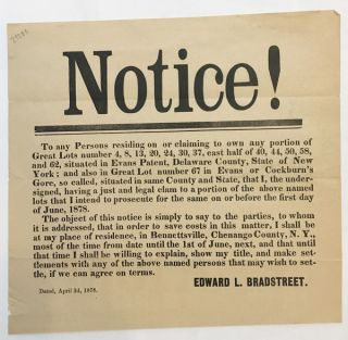 NOTICE! TO ANY PERSONS RESIDING ON OR CLAIMING TO OWN ANY PORTION OF..., THAT I, THE...