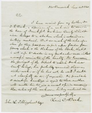 AUTOGRAPH LETTER, SIGNED, REGARDING THE GEOLOGY OF HERKIMER COUNTY, NEW YORK]. Lewis C. Beck