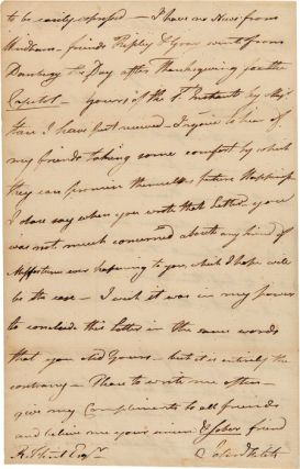 [AUTOGRAPH LETTER, SIGNED, FROM STEAM BOAT PIONEER JOHN FITCH TO HIS FRIEND, ROYAL FLINT, ON THE SITUATION OF THE CONTINENTAL ARMY IN NEW YORK].