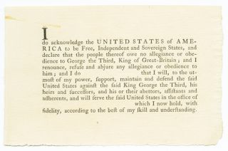 I [ ] DO ACKNOWLEDGE THE UNITED STATES OF AMERICA TO BE FREE, INDEPENDENT AND SOVEREIGN STATES,...