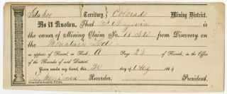 PRINTED MINING CLAIM RECEIPT, COMPLETED IN MANUSCRIPT AND RECORDED IN THE IDAHO TERRITORY,...