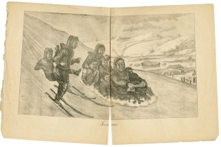 LISORARTUT [caption title of ORIGINAL LITHOGRAPH OF A GREENLANDIC FAMILY SLEDDING AND SKIING]....