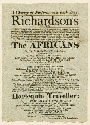 RICHARDSON'S THEATRE...WHEN WILL BE PERFORMED A NEW ASIATIC MELO DRAME, CALLED THE AFRICANS OR,...