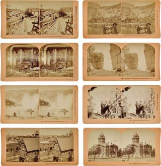 GROUP OF NINETEEN STEREOCARDS SHOWING SCENES IN DENVER, GLENWOOD SPRINGS, CANYON CITY, PUEBLO,...
