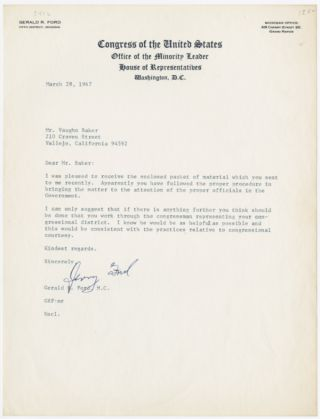 TYPED LETTER, SIGNED BY GERALD R. FORD]. Gerald R. Ford