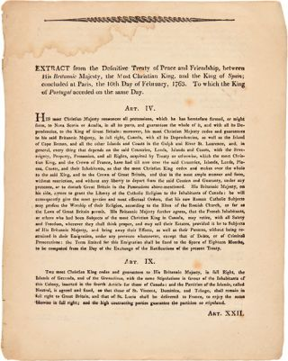 EXTRACT FROM THE DEFINITIVE TREATY OF PEACE AND FRIENDSHIP...CONCLUDED AT PARIS THE 10th DAY OF...