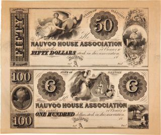 TWO PARTIALLY PRINTED SHARES OF STOCK IN THE NAUVOO HOUSE ASSOCIATION]. Mormons