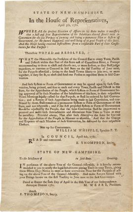 STATE OF NEW-HAMPSHIRE. IN THE HOUSE OF REPRESENTATIVES, APRIL 5th, 1781. WHEREAS THE PRESENT...