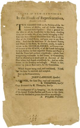 STATE OF NEW-HAMPSHIRE. IN THE HOUSE OF REPRESENTATIVES, NOVEMBER 10th, 1779...THE COMMITTEE ON...