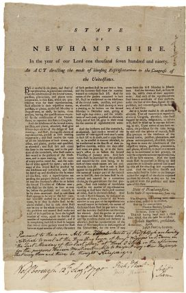 STATE OF NEW HAMPSHIRE [sic]. IN THE YEAR OF OUR LORD ONE THOUSAND SEVEN HUNDRED AND NINETY. AN...