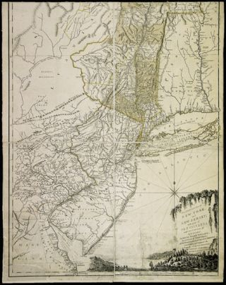 THE PROVINCES OF NEW YORK, AND NEW JERSEY; WITH PART OF PENSILVANIA [sic], AND THE PROVINCE OF QUEBEC. DRAWN BY MAJOR HOLLAND, SURVEYOR GENERAL, OF THE NORTHERN DISTRICT IN AMERICA. CORRECTED AND IMPROVED, FROM THE ORIGINAL MATERIALS, BY GOVERN.R POWNALL, MEMBER OF PARLIAMENT, 1776.