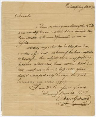 AUTOGRAPH LETTER, SIGNED, BY CONNECTICUT FEDERALIST ROGER GRISWOLD TO ANDREW HUNTINGTON IN...