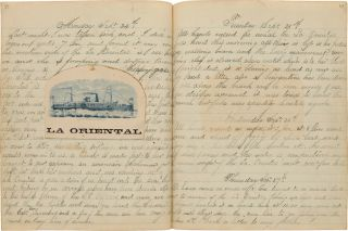 [MANUSCRIPT LOG BOOK OF AN AMERICAN SEAMAN ABOARD THE U.S.S. SHAMOKIN SAILING IN SOUTH AMERICAN WATERS].
