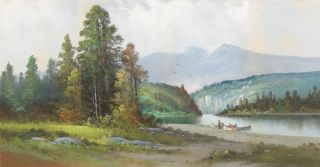 PASTEL PAINTING OF A SCENE IN THE PACIFIC NORTHWEST, PROBABLY THE COLUMBIA RIVER, WITH INDIANS...