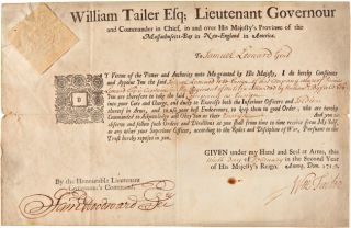 WILLIAM TAILER ESQ; LIEUTENANT GOVERNOUR AND COMMANDER IN CHIEF, IN AND OVER HIS MAJESTY'S...