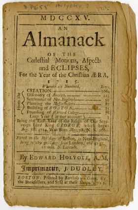 MDCCXV. AN ALMANACK OF THE COELESTIAL MOTIONS, ASPECTS, AND ECLIPSES, FOR THE YEAR OF THE...