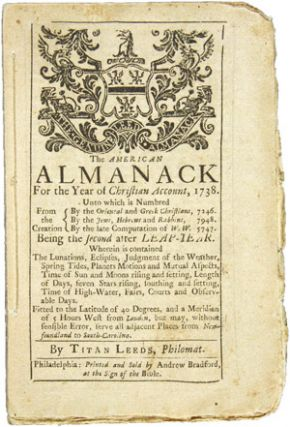 THE AMERICAN ALMANACK FOR THE YEAR OF CHRISTIAN ACCOUNT, 1738. Titan Leeds