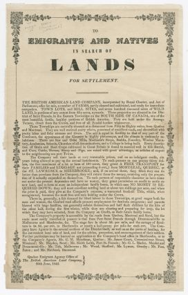 TO EMIGRANTS AND NATIVES IN SEARCH OF LANDS FOR SETTLEMENT [caption title]. Canadian Settlement