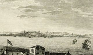 A VIEW OF THE CITY OF BOSTON CAPITAL OF NEW ENGLAND, IN NORTH AMERICA. VUE DE LA VILLE DE BOSTON, CAPITALE DE LA NOUVELLE ANGLETERRE, DANS L'AMÉRIQUE SEPTENTRIONALE. DRAWN ON THE SPOT BY HIS EXCELLENCY, GOVERNOR POWNALL.