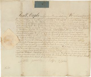 MANUSCRIPT BRITISH ROYAL COMMISSION ON VELLUM APPOINTING ROBERT DINWIDDIE AS INSPECTOR GENERAL OF...