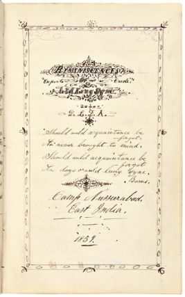 REMINISCENCES OF AULD LANG SYNE [manuscript title, including a chapter of adapted California...